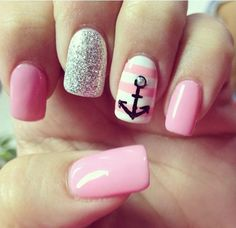 Anchor is one of iconic maritime symbols that signifies stability, safety and hope. Now it has become one of elements of fashion designs. Anchor gains its popularity in nail design for its cute and elegant style as well as symbolic meanings.