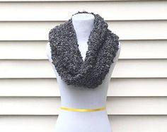 THE BOSTONIAN •• chunky black infinity scarf, soft infinity scarf, chunky infinity scarf, bkack scarf