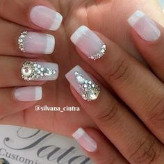 Semi-permanent varnish, false nails, patches: which manicure to choose? - My Nails Swarovski Nail Crystals, Crystal Nails, French Gel, French Nails, French Pedicure, Bride Nails, Wedding Nails, Hair And Nails, My Nails