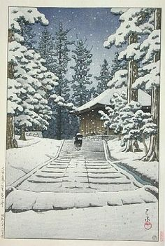 """""""Konjiki-do in snow, Hiraizumi"""" by Kawase Hasui"""