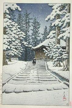 """Konjiki-do in snow, Hiraizumi"" by KAWASE Hasui (1883~1957), Japan / woodblock print 川瀬 巴水"
