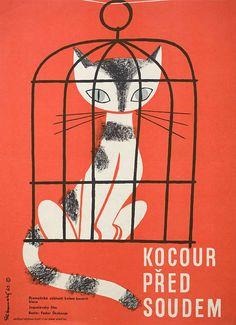 Movie Poster 1964 Czech poster for The Great Trial (Fedor Skubonja, Yugoslavia, 1961). Designer: Zdenek Palcr.