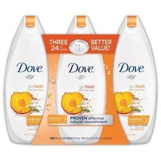 Dove Go Fresh Body Wash - Nectarine & White Ginger Scent - 3/24 oz. by Dove. $17.30. The natural moisturizers in Dove Nutrium Moisture deeply nourish while the crisp, soothing scents of nectarine & white ginger leave skin feeling refreshingly hydrated.