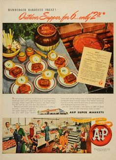 1946 Ad Hamburger Barbecue Super Market Grocery Store  - ORIGINAL ADVERTISING