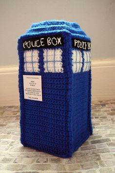 Crocheted TARDIS- made from a brilliant pattern by Sara Kitchen- http://www.etsy.com/listing/87244613/crochet-tardis-doctor-who-pdf-pattern