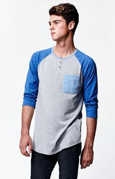 Craig Sleeve Raglan T-Shirt Tomboy Fashion, Mens Fashion, Raglan Tee, Men's Shirts, Tees, Tank Man, Guy Style, Sleeves, Mens Tops
