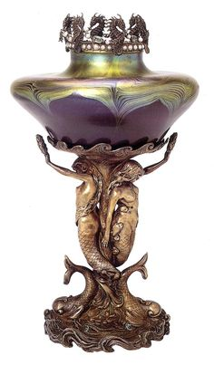 Vase By Louis Comfort Tiffany - Glass Covered In  Several Layers Of Different Colors, With Overlapping Applications Of Glass Foils, Settings Of Pearls On The Upper Ring, Precious Stones Set On The Upper Ring And On the Base - Base Made By Tiffany & Co., London  c. 1897 Glass cover...
