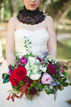 Absolutely gorgeous red and purple bouquet!