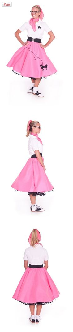 Hip Hop 50s Shop Adult 3 Piece Poodle Skirt Outfit - Large Hot Pink Skirt, Polo and Scarf, This 3 Piece Poodle Skirt outfit comes with the following items; Poodle Skirt, Poodle Polo Shirt and a matching Chiffon Scarf. It doesn't matter if you are going to a costume party or a Sock Hop, your..., #Apparel, #Women