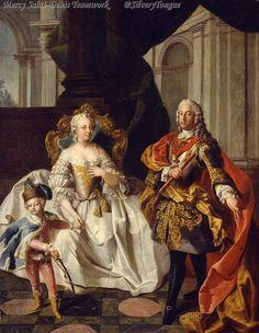 A portrait of Maria Theresa, Francis I and their first son, Archduke Joseph by Franz Xaver Karl Parko. Circa 1747.