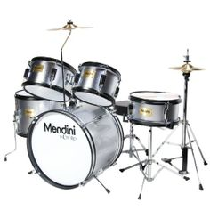 Mendini MJDS-5-SR Complete 16-Inch 5-Piece Silver Junior Drum Set with Cymbals, Drumsticks and Adjustable Throne - http://www.kidstrument.com/drums-percussion/mendini-mjds-5-sr-complete-16-inch-5-piece-silver-junior-drum-set-with-cymbals-drumsticks-and-adjustable-throne