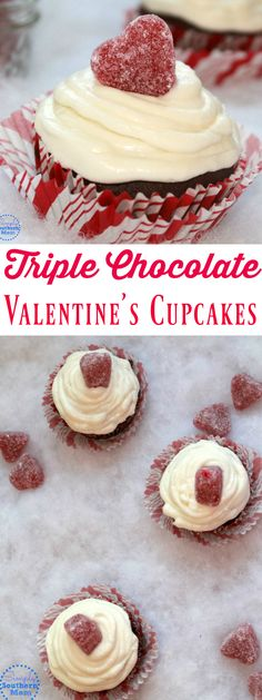 Delicious Triple Chocolate Valentine's Day Cupcakes have a secret- they're a semi homemade recipe so they come together quickly! Gluten free recipe option.