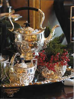 Gorgeous silver service seen in Victoria Classics Holiday Bliss 2014 magazine.