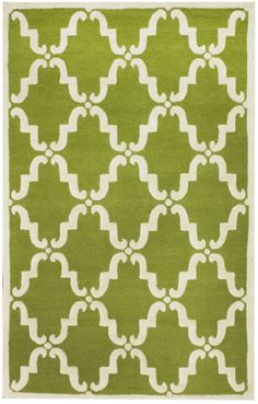 RugStudio presents Nuloom Trellis Bold Green Hand-Tufted, Good Quality Area Rug