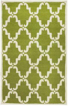 RugStudio presents Nuloom Trellis Bold Green Hand-Tufted, Good Quality Area Rug
