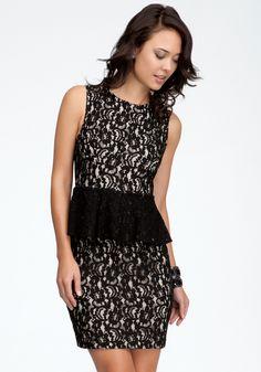 bebe - Allover Lace Peplum Dress    $89.99