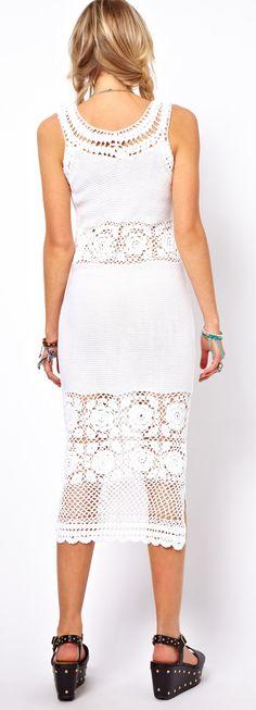 ASOS Crochet Village Midi Dress