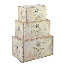 S/3 WOODEN/CANVAS TRUNK W/BUTTERFLY 65X38X35 - Chests - FURNITURE