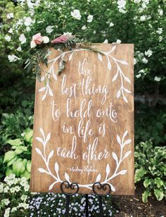 pretty calligraphy quote on wood