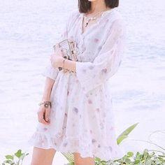 Kawaii Chiffon Shell Print Dress SP167413