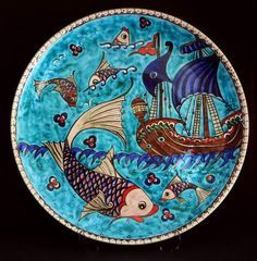 Image result for painted medieval tiles fish