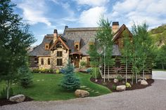 French Country Inspired Exterior - Idaho Timber Frame and Milled Log Home… Log Cabin Homes, Log Cabins, Castle House, Timber House, Home Landscaping, Backyard Makeover, Garden Landscape Design, Yard Design, French Country Decorating