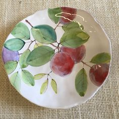 "8"" maiolica plate Plums on White Handmade by Laurie Curtis"