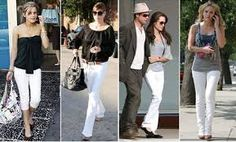 White skinny jeans are a hit for the summer. As evidence here are some celebs, recently spotted sporting a variety of white jeans How To Wear White Jeans, Love Jeans, Jeans Style, Celebrity Jeans, Celebrity Style, White Skinny Jeans, White Pants, Sport Fashion, Travel Fashion