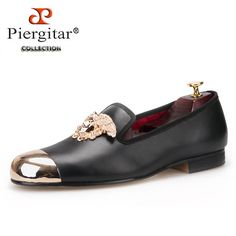 Italy fashion design bright face buckle and gold metal toe Men Genuine Leather shoes men casual flats Party Wedding Men Loafers