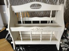 A plain magazine rack made over with a lick of Annie Sloan paint & a Chic Mouldings applique! www.chicmouldings.com