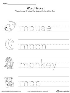 Teach the beginning letter sound by tracing and saying the name of the matching picture while providing opportunities for your child to improve their fine motor skills in this printable worksheet. Letter M Worksheets, Letter M Activities, Handwriting Worksheets For Kids, Pre K Worksheets, Printable Preschool Worksheets, Free Kindergarten Worksheets, Printable Letters, Handwriting Practice, Free Printable