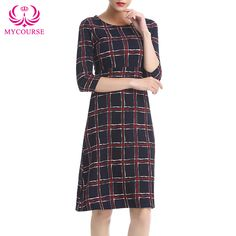 Find More Dresses Information about MYCOURSE New Arrival 2016 Women Vintage Cross Plaid O Neck 3/4 Long Sleeve Casual Straight Dress Formal Vestidos Office Dress,High Quality dresses lemon,China dress cocktail dress Suppliers, Cheap dress bird from MYCOURSE on Aliexpress.com