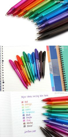 These colorful and compact Paper Mate InkJoy Mini Pens are easy to carry everywhere and are perfect for color-coding your notes and making them pop! Stationery Companies, Stationery Store, Stationary Shop, Jet Pens, Cute School Supplies, Stationeries, Free Items, Journal Ideas, Clean Lines
