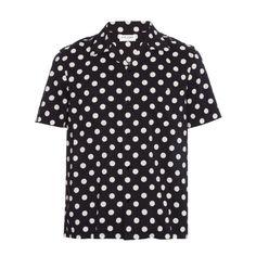 Saint Laurent Polka-dot print cotton-blend shirt (1 780 PLN) ❤ liked on Polyvore featuring men's fashion, men's clothing, men's shirts, men's casual shirts, men, shirts, tops, guy shirts, black multi and mens polka dot shirt