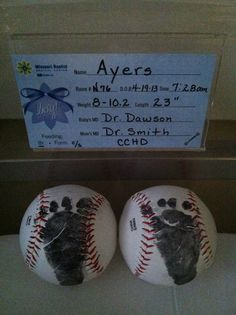 Baby room decor gift. Baseballs with newborn foot print.