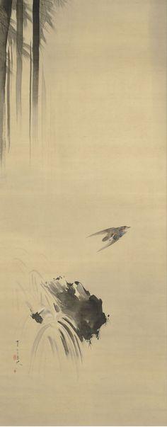 "Watanabe Shotei 渡辺省亭 (1851-1918), one scroll of three, ""Waterfall, Roses, Carp."""