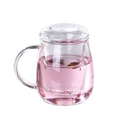 RELEA 450ML Floral Tea Mug Lead Free Transparent Glass Cup w/ Filter And Lid Heatproof Office Home Leisure Drink Cups Tumbler-in Mugs from Home & Garden on Aliexpress.com | Alibaba Group