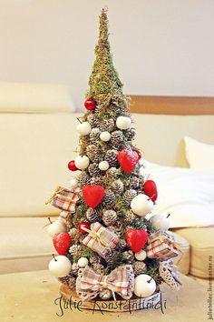 Купить Романтичная елочка - серый, красный, белый, Новый Год, новогодняя елка, украшение интерьера