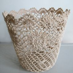 Crochet Basket - This is a wonderful feminine, lacey basket! - link not found though