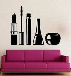 Cheap shop decor, Buy Quality vinyl wall decals directly from China wall decals Suppliers: Cosmetics Make Up Vinyl Wall Decal Sexy Girl Beauty Tools Salon Mural Art Wall Sticker Removeable Nail Shop Decoration Makeup Studio, Beauty Studio, Wall Stickers Home Decor, Vinyl Wall Stickers, Wall Decor, Beauty Spa, Beauty Room, Makeup Rooms, Nail Shop