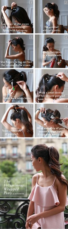 ExtraPetite.com - Easy formal hairstyle tutorials: from voluminous ponytail to romantic pin-curl inspired updo