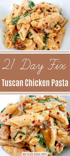 crockpot chicken easy This 21 Day Fix Tuscan Chicken Pasta is an easy and healthy dinner that your whole family will love! This creamy pasta recipe is perfect for an easy weeknight meal and can be quickly made in the Instant Pot, Crockpot or in a skillet! Creamy Pasta Recipes, Soup Recipes, Chicken Recipes, Family Recipes, Shrimp Recipes, Keto Pasta Recipe, 21 Day Fix Vegetarian, Vegetarian Diets, Tuscan Chicken Pasta