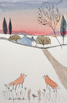 foxes at dawn