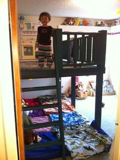 """I would love to be able to put the three boys in one room- what a great idea to have a lofted play space up above.  Maybe a """"reading nook""""?"""