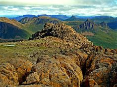 The top of Mt. Ossa offers spectacular views of the Cradle Mountain-Lake St. Clair region of Tasmania. Beautiful Places To Visit, Oh The Places You'll Go, My Dream Came True, Day Hike, Tasmania, New Zealand, Hiking, Mountain, Country Roads