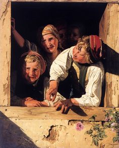 WALDMÜLLER, Fedinand Georg Children at the Window 1853 Oil on canvas, 85 x 69 cm Residenzgalerie, Salzburg