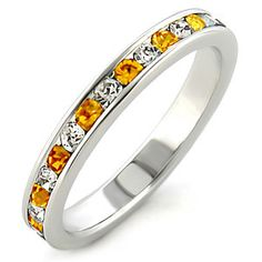 Crystal Happiness - Sterling Silver Wedding Ring with Citrine and White Austrian Crystals #BuyBlueSteel #Jewelry