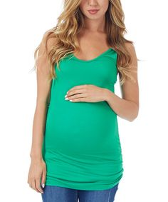 Green Racerback MaternityTank - Women by PinkBlush Maternity #zulily #zulilyfinds