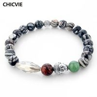CHICVIE Natural Stone Buddha Charm Bracelets & Bangles Women Men Friendship Bracelets With Stones Jewelry Femme SBR150260