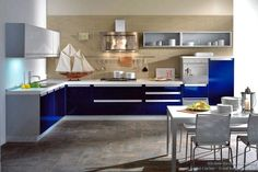 Image result for navy blue kitchen cabinets